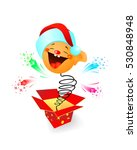 amusing toy jumping out on a... | Shutterstock .eps vector #530848948