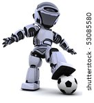 3D render of a robot playing soccer - stock photo