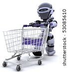 3D render of a robot shopping with a cart - stock photo