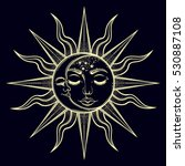 bohemian hand drawn sun and... | Shutterstock .eps vector #530887108