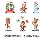 animal cristmas 4 cartoon set | Shutterstock . vector #530895568