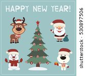 happy new year  set christmas... | Shutterstock .eps vector #530897506