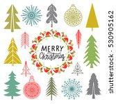christmas set. trees ... | Shutterstock .eps vector #530905162