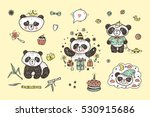 cute baby panda vector set.... | Shutterstock .eps vector #530915686