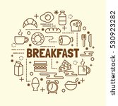breakfast minimal thin line... | Shutterstock .eps vector #530923282