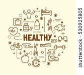 healthy minimal thin line icons ... | Shutterstock .eps vector #530925805