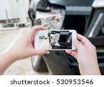 female hold mobile smartphone... | Shutterstock . vector #530953546