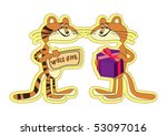 sticker. tiger and cat with... | Shutterstock .eps vector #53097016