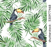 palm leaves and toucan.... | Shutterstock . vector #530977468