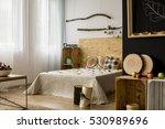 cozy bedroom decorated with... | Shutterstock . vector #530989696