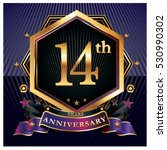 14 years golden anniversary... | Shutterstock .eps vector #530990302