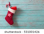 christmas sock with gifts on ... | Shutterstock . vector #531001426