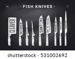 fish cutting knives set. poster ... | Shutterstock .eps vector #531002692