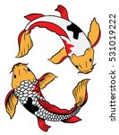 hand drawn colorful koi fish... | Shutterstock .eps vector #531019222
