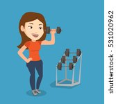 young sporty woman lifting a... | Shutterstock .eps vector #531020962