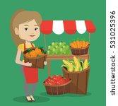 caucasian greengrocer standing... | Shutterstock .eps vector #531025396
