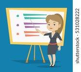 happy caucasian teacher... | Shutterstock .eps vector #531028222