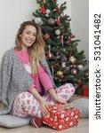 beautiful woman sitting next to ... | Shutterstock . vector #531041482
