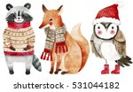 Stock photo christmas watercolor animals set fox raccoon and bird like owl cute kids illustration perfect 531044182