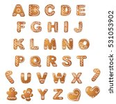 christmas gingerbread cookies... | Shutterstock .eps vector #531053902