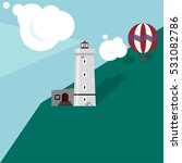 flat vector lighthouse and... | Shutterstock .eps vector #531082786