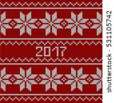 red knitted seamless pattern.... | Shutterstock .eps vector #531105742