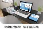 black desktop with tablet ... | Shutterstock . vector #531108028