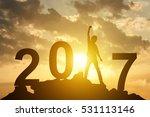 man hand up on the peak of... | Shutterstock . vector #531113146