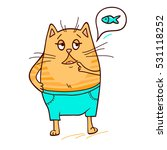 cute ginger cat needs some fish.... | Shutterstock .eps vector #531118252