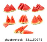 Water Melon Slices Isolated On...
