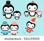 cute cartoon winter penguin... | Shutterstock .eps vector #531159055