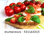 bruschetta with spinach and... | Shutterstock . vector #531163315