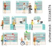 smiling people in pharmacy...   Shutterstock .eps vector #531166576