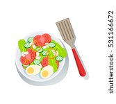 salad with eggs and fresh... | Shutterstock .eps vector #531166672