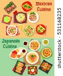 mexican and japanese cuisine... | Shutterstock .eps vector #531168235