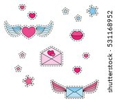 fashion patch badges. winged... | Shutterstock .eps vector #531168952