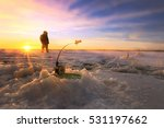 winter landscape fishermen on... | Shutterstock . vector #531197662
