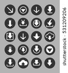 downloading icons set in black... | Shutterstock .eps vector #531209206