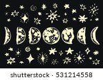 moon phases with stars in night ... | Shutterstock .eps vector #531214558