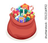 isometric san gifts bag new... | Shutterstock .eps vector #531216952