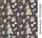 masquerade theme seamless... | Shutterstock . vector #531222682