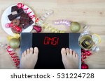 digital scales with woman feet...