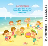 children play and swim at the... | Shutterstock .eps vector #531232168
