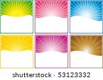 Web banners in six colors - stock vector