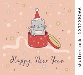 Happy New Year Card With Cat