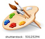 Wooden Palette With Paints And...