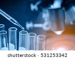 microscope with lab glassware ... | Shutterstock . vector #531253342