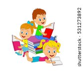 kids boy and girls  reading a... | Shutterstock .eps vector #531273892
