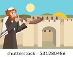 jew blowing the shofar at... | Shutterstock .eps vector #531280486