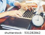 hand control on a laptop touch | Shutterstock . vector #531282862